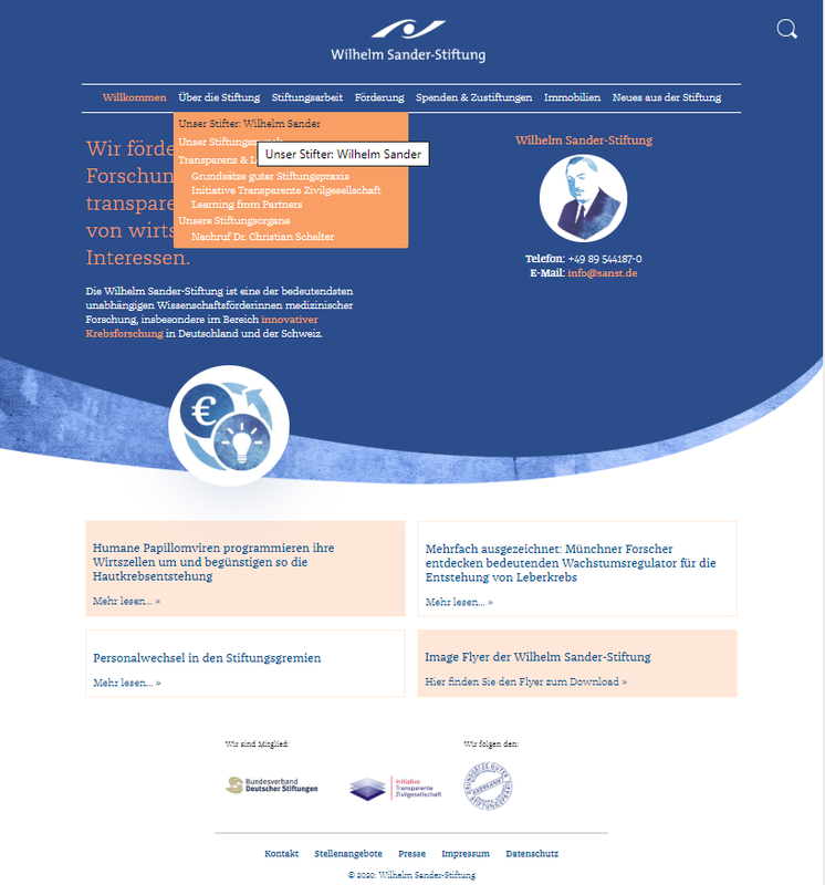 Screenshot der neuen Website: neues Design und nutzerfreundlichere Struktur