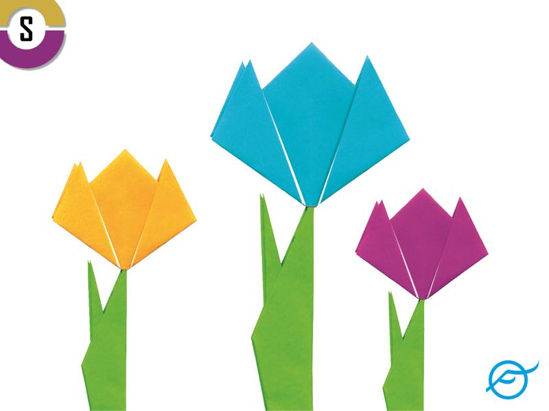 3 gebastelte Tulpen; oben links ist das Logo des Stiftungsmarktplatzes, unten rechts das von factum