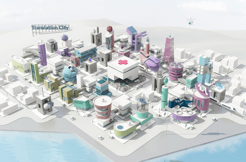 Grafik der Translation City mit Strand