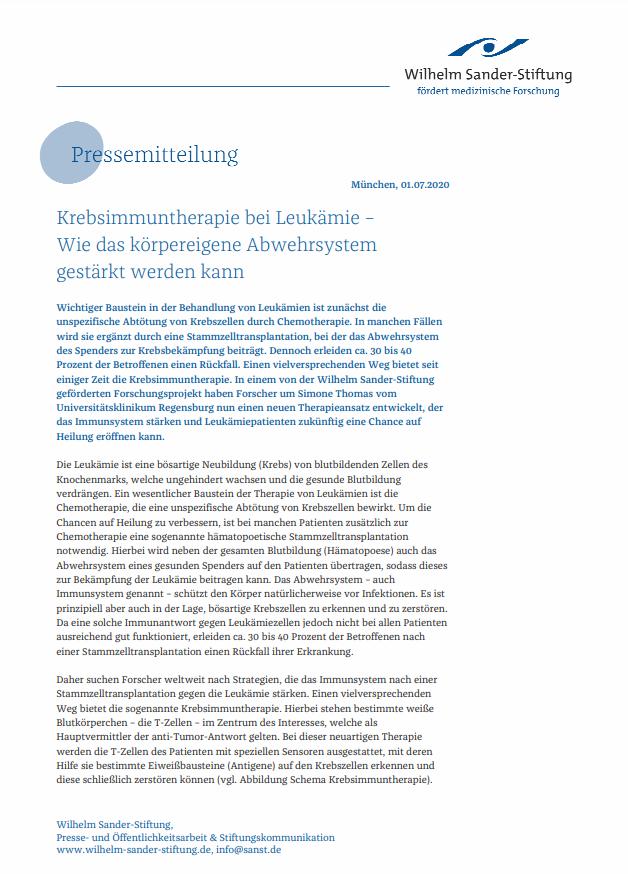 Pressemitteilung der Wilhelm Sander-Stiftung